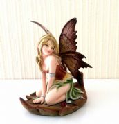 Green Flower Fairy Resting on Leaf Figurine Statue Ornament
